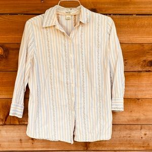 Cherokee cotton 3/4 sleeve button up blouse